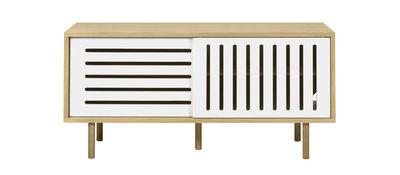 Credenza Amsterdam Stripes / Mobile TV - L 135 cm - POP UP HOME - Bianco,Quercia naturale - Legno