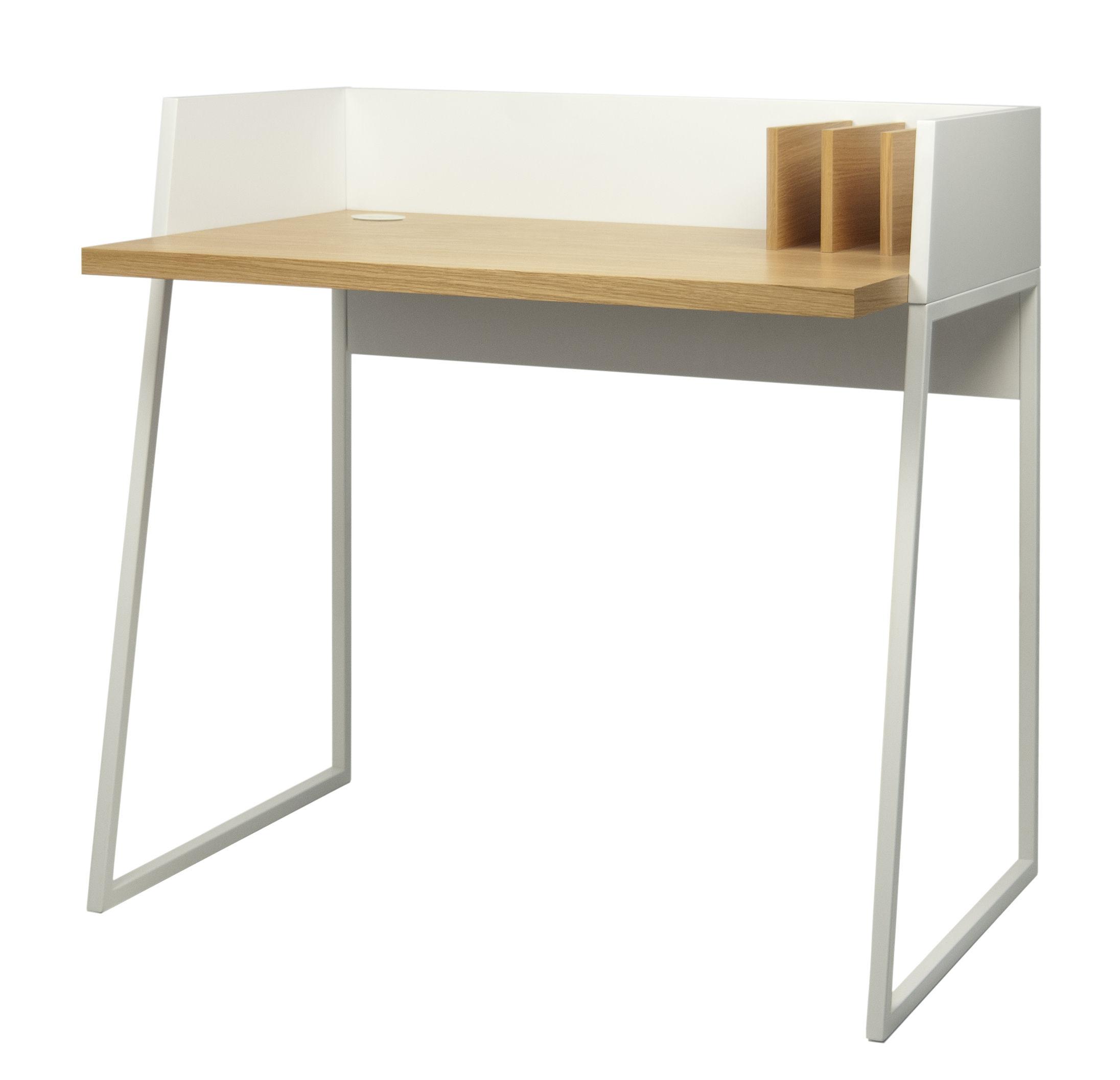 Mobilier - Bureaux - Bureau Working - POP UP HOME - Blanc / Chêne - MDF peint, Métal laqué, Panneaux alvéolaires, Placage chêne