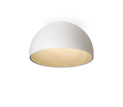 Lighting - Ceiling Lights - Duo LED Ceiling light - / Straight - Ø 35 cm by Vibia - Straight / White & wood - Lacquered aluminium, Oak