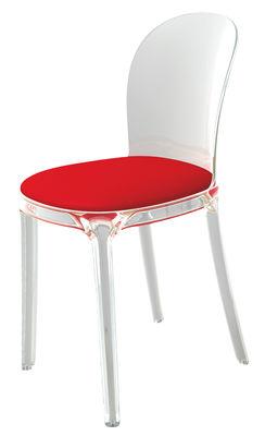 Mobilier - Chaises, fauteuils de salle à manger - Chaise rembourrée Vanity Chair / Polycarbonate transparent & tissu - Magis - Cristal / Coussin rouge - Polycarbonate, Tissu