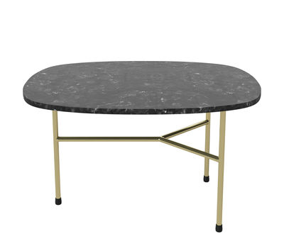 Furniture - Coffee Tables - Pod Coffee table - / Wide - 65 x 51 cm by Bolia - Black & brass - Brass, Marble