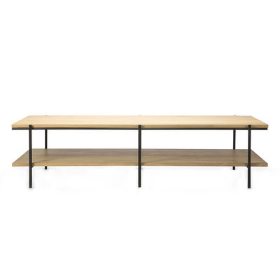 Furniture - Coffee Tables - Rise Coffee table - / Rectangular - 120 x 70 cm by Ethnicraft - Oak & black - Solid oak, Varnished metal