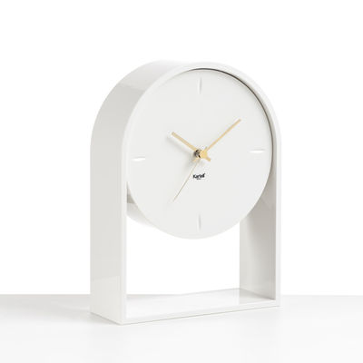 Decoration - Wall Clocks - L'Air du temps Desk clock - / H 30 cm by Kartell - White / White - Thermoplastic technopolymer