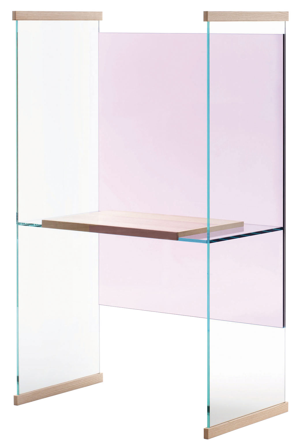 Furniture - Office Furniture - Diapositive Desk by Glas Italia - Back lilas - Top and sides transparent - Ashwood, Glass