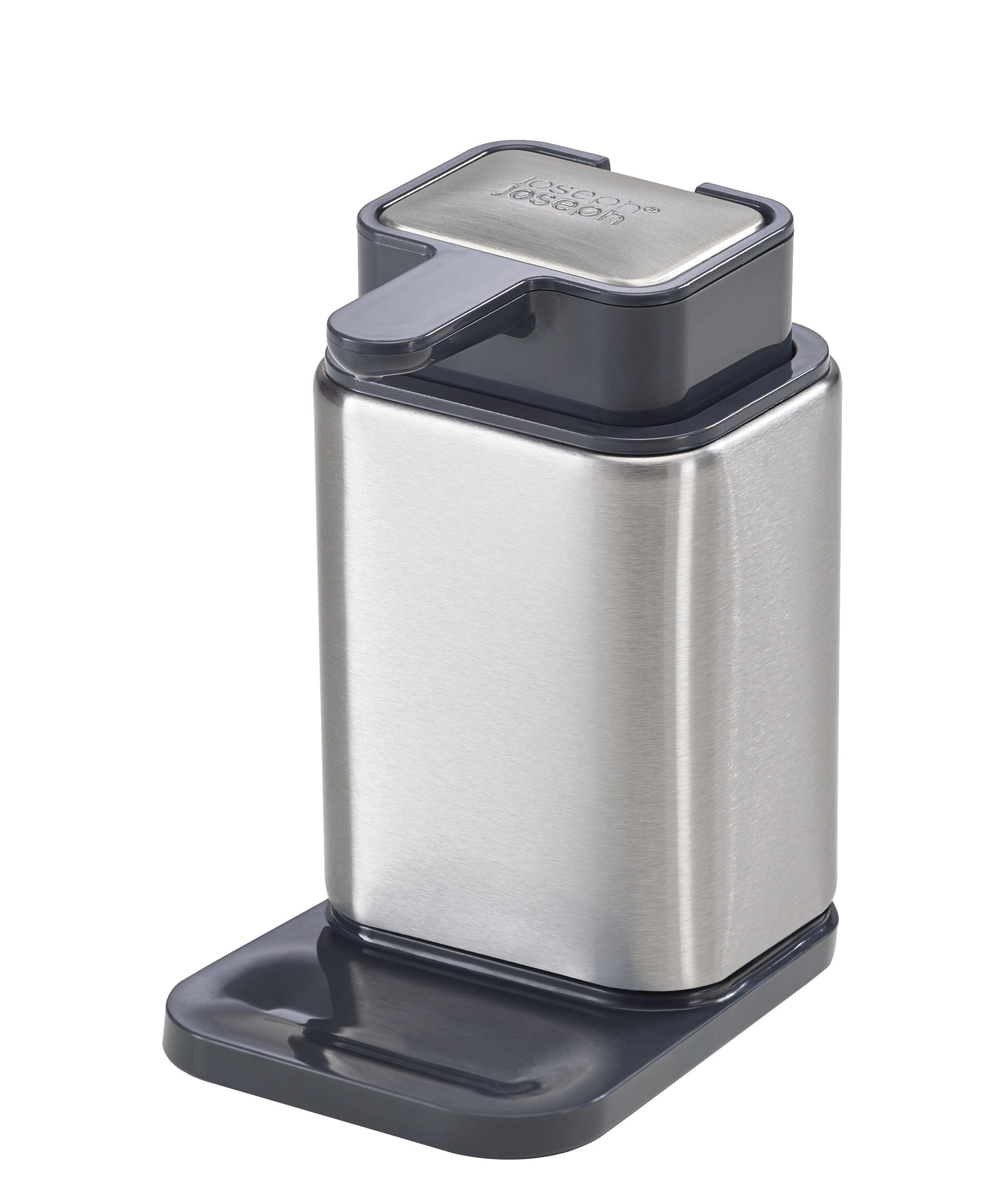 Accessoires - Accessoires salle de bains - Distributeur de savon Surface / Savon en acier intégré - Joseph Joseph - Acier & noir - Acier inoxydable, Matière plastique