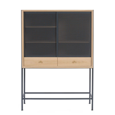 Furniture - Shelves & Storage Furniture - Gabin Dresser - / L 100 x H 140 cm by Hartô - Oak / Slate grey - MDF veneer oak, Metal