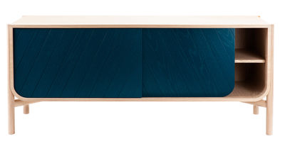 Furniture - Dressers & Storage Units - Marius Dresser - Low - L 185 x H 65 cm by Hartô - Petrol blue & natural oak - MDF veneer oak, Solid oak
