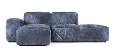 Möbel - Sofas - BFF Cuir Nubuck Ecksofa / Armlehne links L 221 - Moooi - Nubukleder / Nachtblau - Anilin Nubukleder, Holz, Schaumstoff