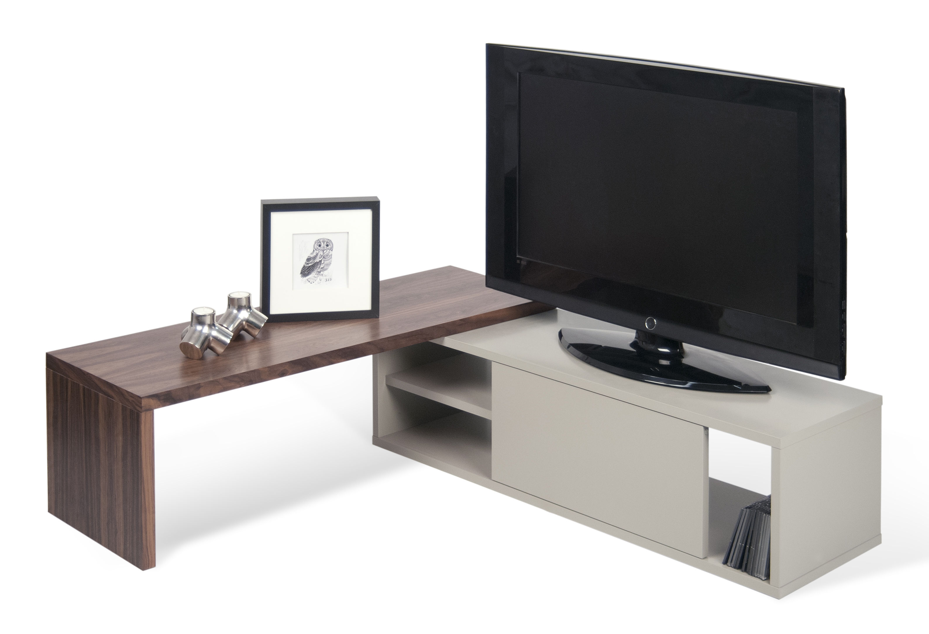 slide erweiterbares tv m bel drehbar l 110 bis 203 cm grau nussbaum by pop up home. Black Bedroom Furniture Sets. Home Design Ideas