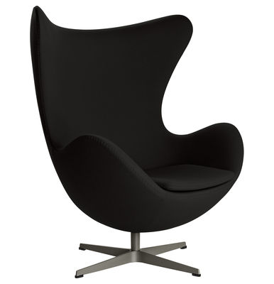 Fauteuil pivotant Egg chair / Tissu Gabriele - Fritz Hansen noir en métal/tissu