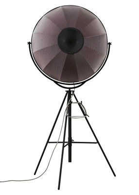 Luminaire - Lampadaires - Lampadaire Fortuny Petite - Pallucco - Struct. Noire - Steelcut Orange & bleu clair - Acier profilé, Acier tubulaire, Tissu