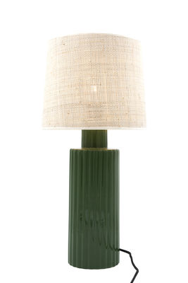 Lampe de table Portofino / Rabane & céramique - H 54 cm - Maison Sarah Lavoine blanc,vert en tissu