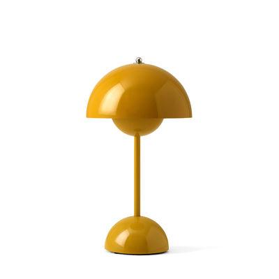 Luminaire - Lampes de table - Lampe sans fil Flowerpot VP9 / H 29,5 cm - By Verner Panton, 1968 - &tradition - Jaune moutarde - Polycarbonate