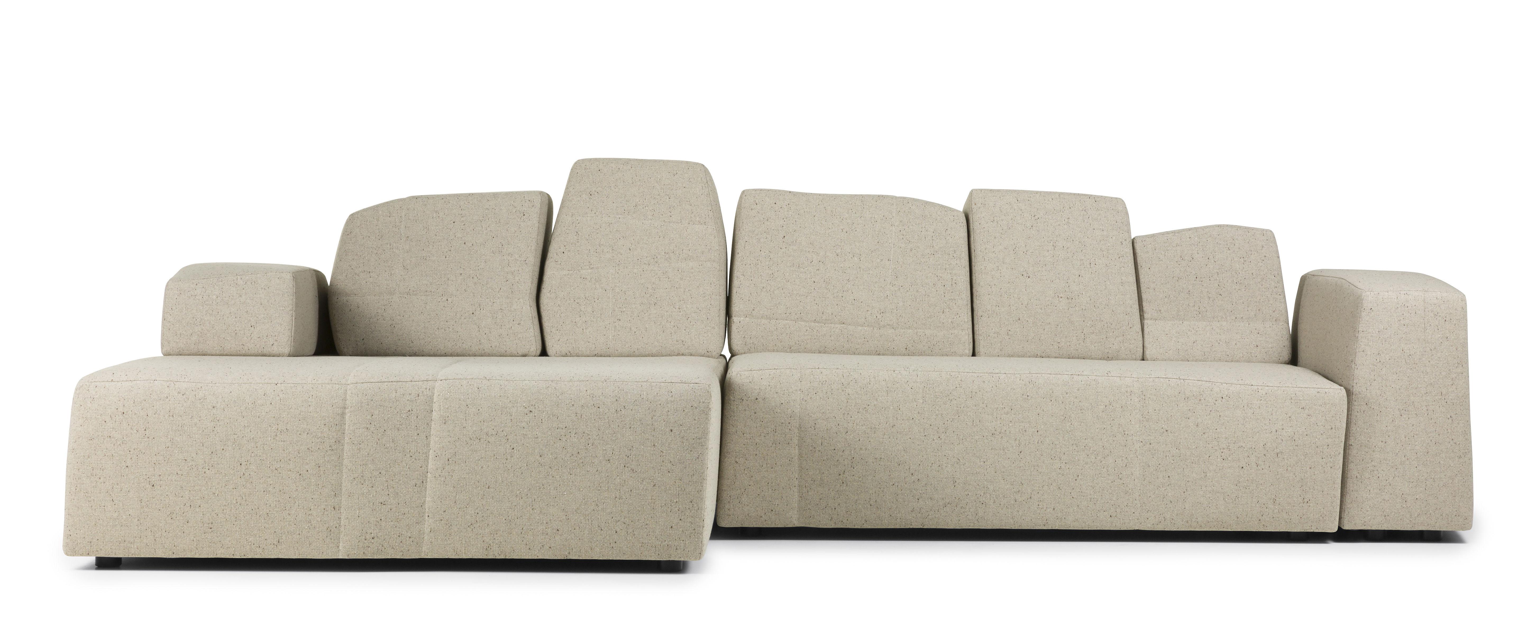 Furniture - Sofas - Something Like This Modular sofa - 2 units / 3 seats - L 307 cm by Moooi - Marl beige - Fabric - Wood - Foam - Metal