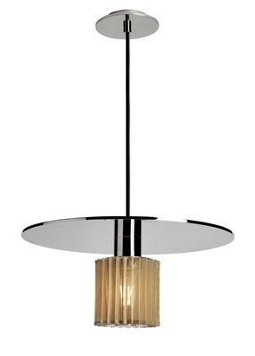 Lighting - Pendant Lighting - In the sun Large Pendant - / Ø 38 cm by DCW éditions - Chrome / Gold mesh - Aluminium, Glass, Steel