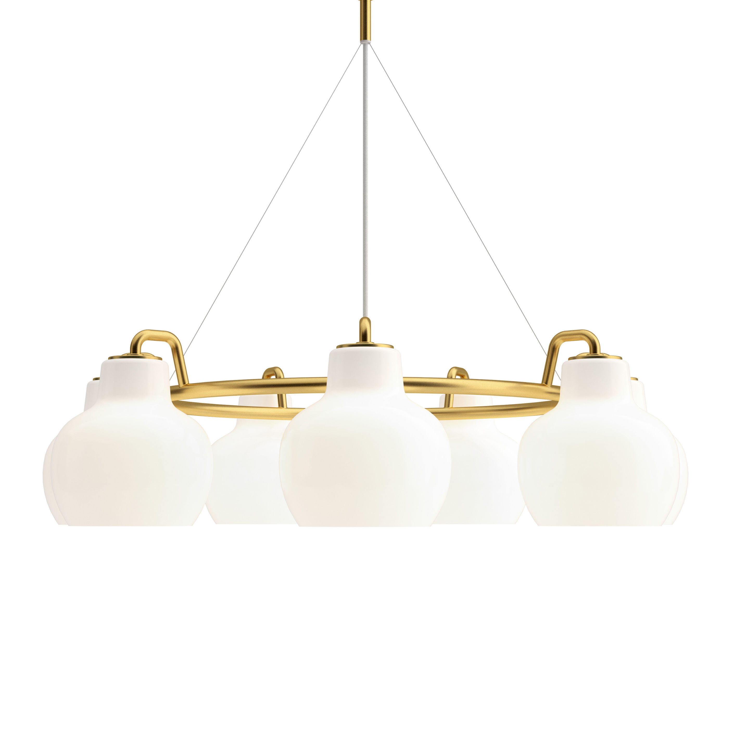 Lighting - Pendant Lighting - VL Ring Crown Pendant - / 7 lampshades - Ø 89 cm by Louis Poulsen - White / Brass - Brass, Mouth blown glass