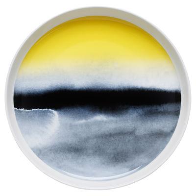 Plat de présentation Oiva Sääpäiväkirja / Ø 32 cm - Marimekko bleu/jaune en céramique
