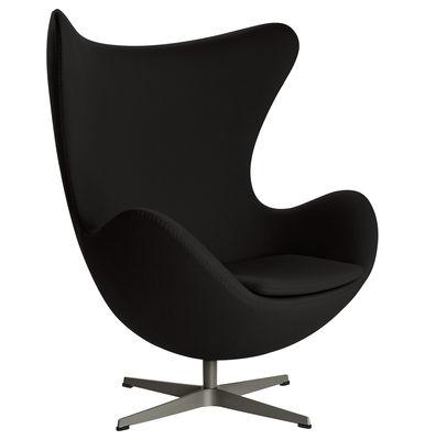 Arredamento - Poltrone design  - Poltrona girevole Egg chair - tessuto di Fritz Hansen - Nero - Alluminio lucido, Fibra di vetro, Schiuma di poliuretano, Tessuto
