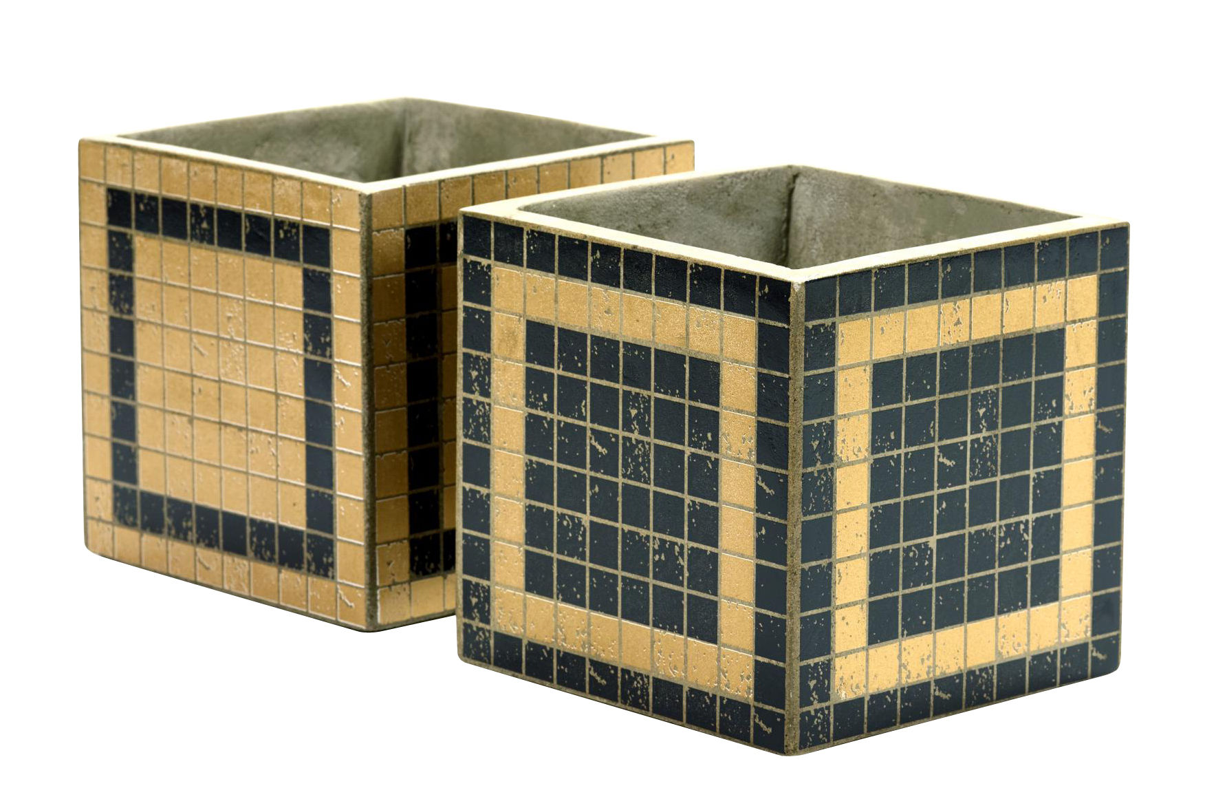 Decoration - Flower Pots & House Plants - Marie Mosaïque Pot - / 17x17 cm - Set de 2 by Serax - Black & Gold - Enamelled concrete