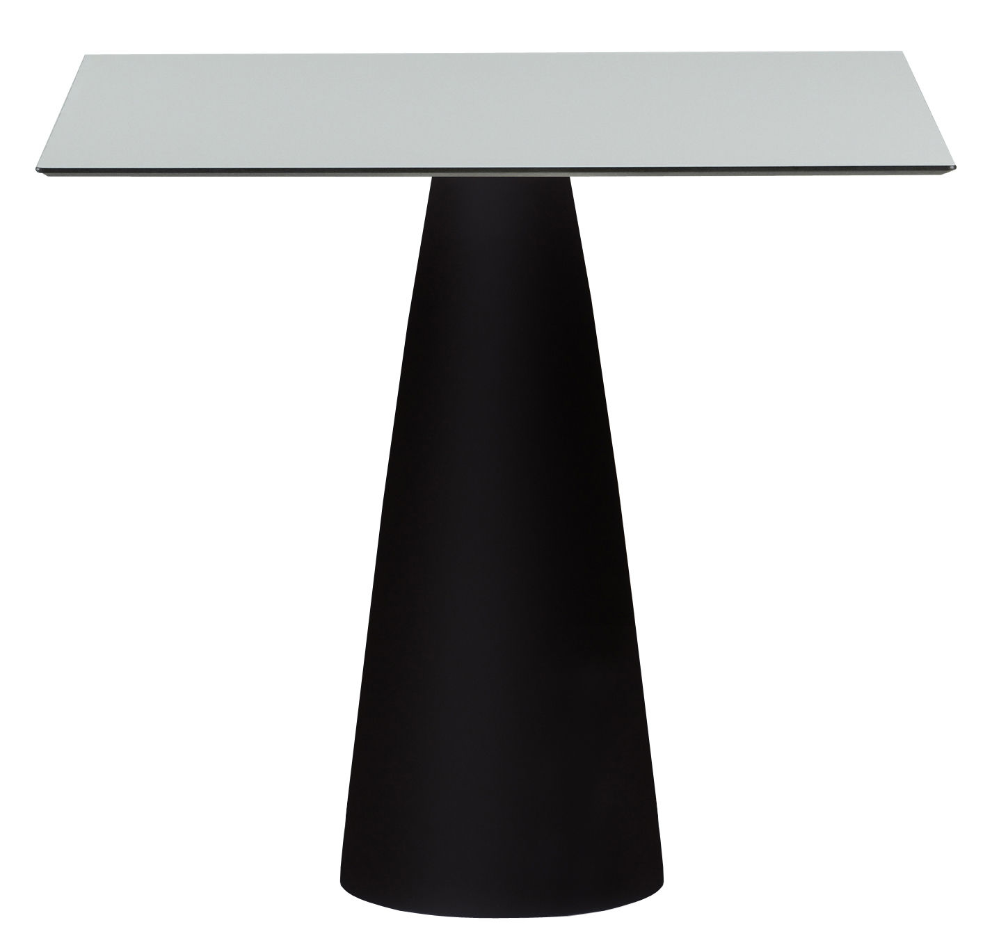Outdoor - Garden Tables - Hoplà - H 72 cm Square table by Slide - White top / Black leg - Laminated HPL, Recyclable polyethylene