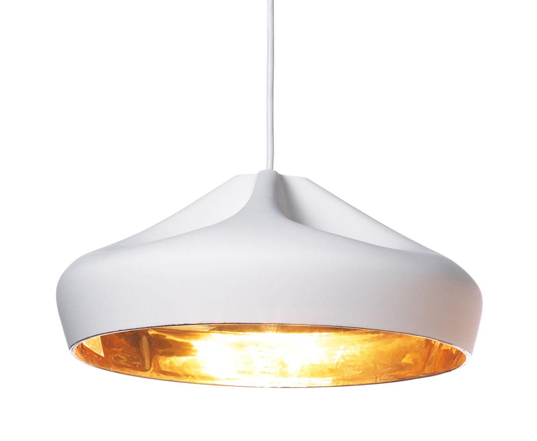 Luminaire - Suspensions - Suspension Pleat Box 36 / Ø 34 x H 16 cm - Céramique - Marset - Blanc / Intérieur or - Céramique