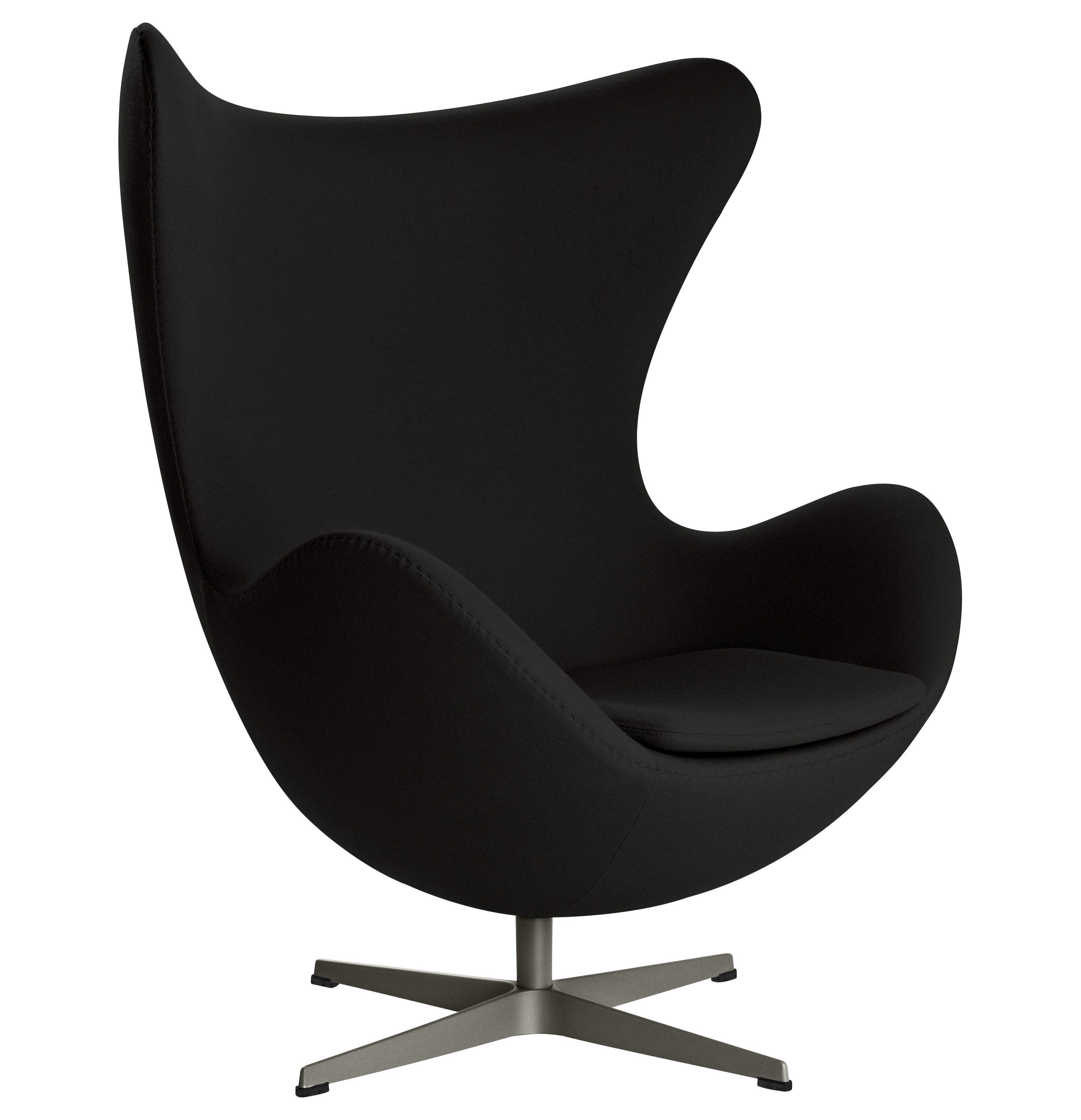 Furniture - Armchairs - Egg chair Swivel armchair - Gabriele fabric by Fritz Hansen - Black - Fabric, Fibreglass, Polished aluminium, Polyurethane foam