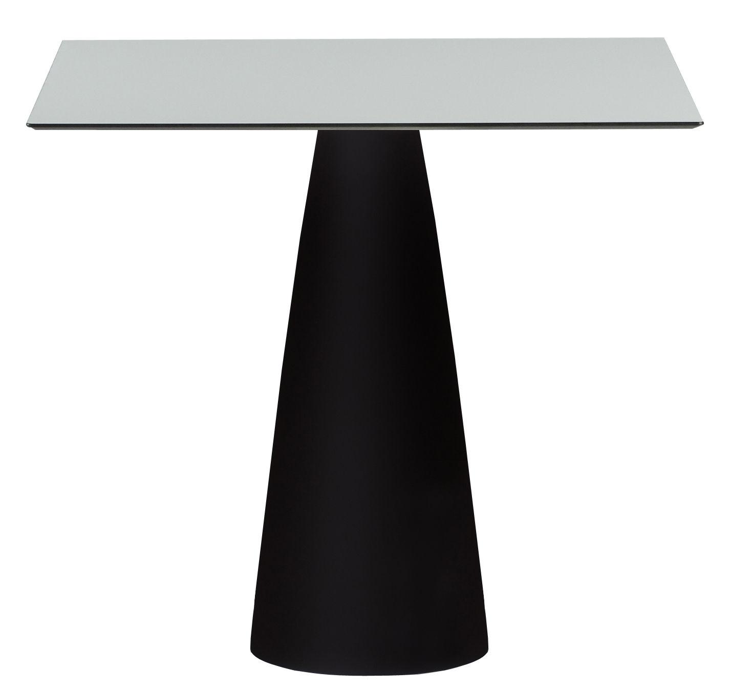 Outdoor - Tables de jardin - Table carrée Hoplà - H 72 cm / 79 x 79 cm - Slide - Blanc & pied noir - HPL stratifié, Polyéthylène recyclable