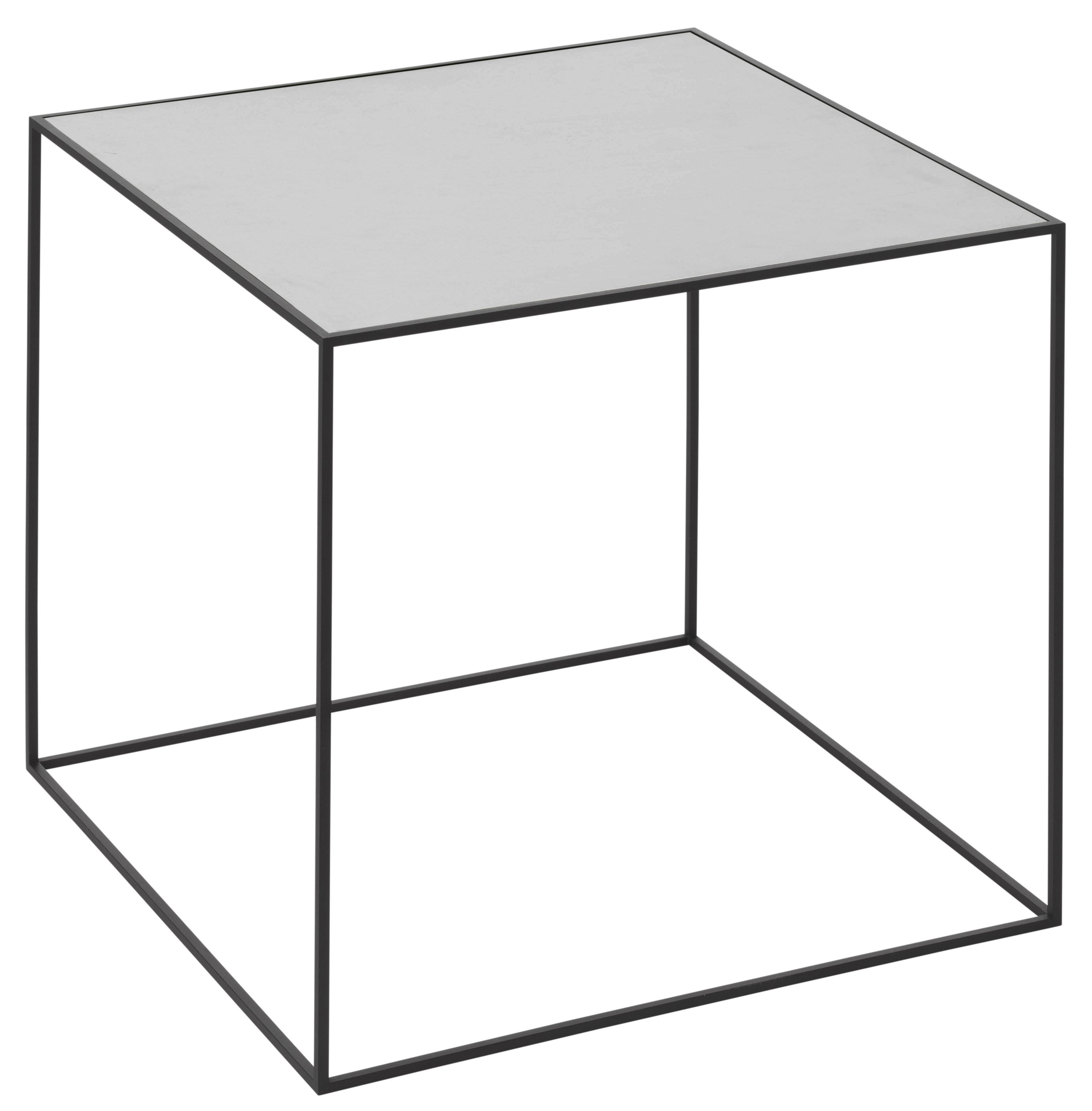 Mobilier - Tables basses - Table d'appoint Twin / L 42 x H 42 cm - Plateau réversible - by Lassen - L 42 cm /  1 face grise + 1 face noire - Acier laqué, Frêne teinté, Mélamine