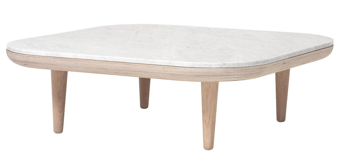 Arredamento - Tavolini  - Tavolino FLY - / Marmo - 80 x 80 cm di &tradition - Rovere chiaro / Marmo bianco - Marmo di Carrara, Rovere sbiancato