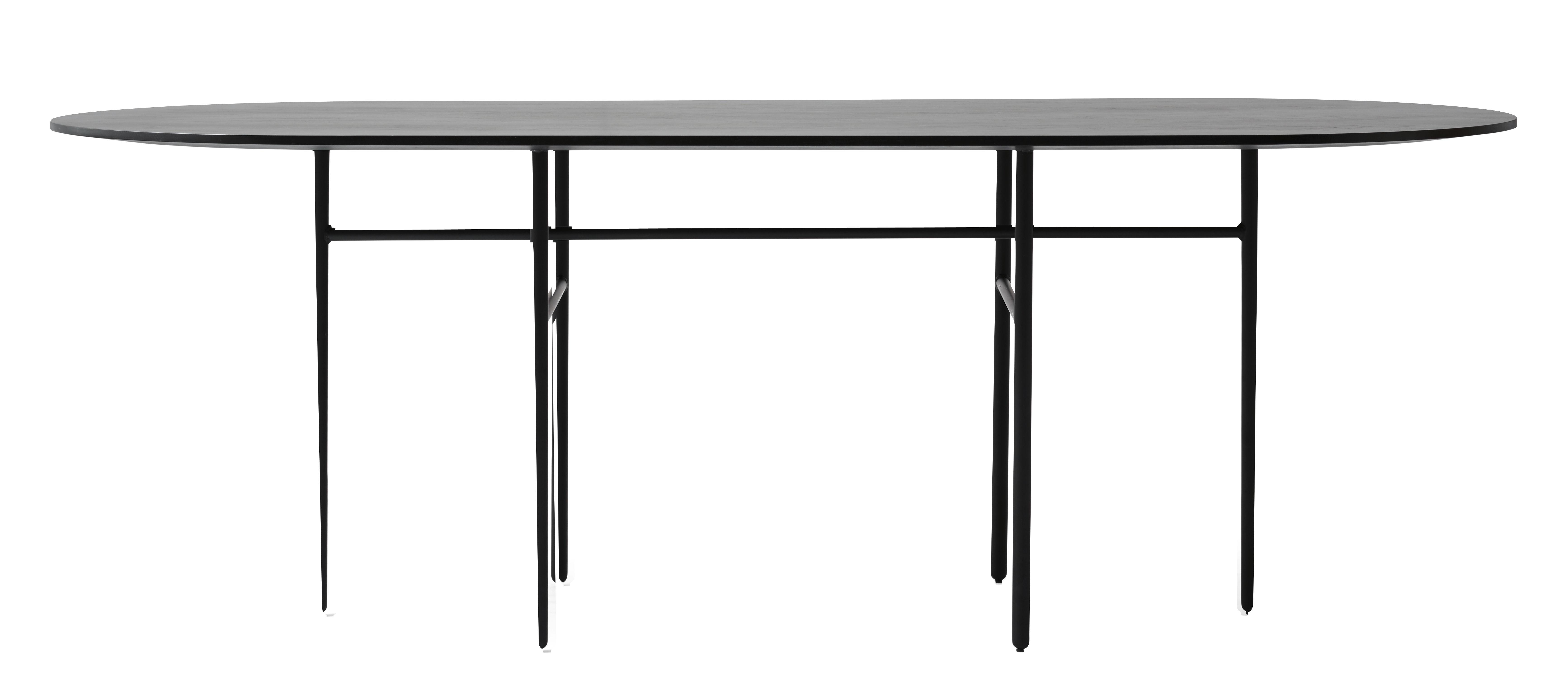 Arredamento - Tavoli - Tavolo Snaregade / Ovale - 210 x 95 cm - Menu - Nero - Acciaio laccato, Compensato di rovere
