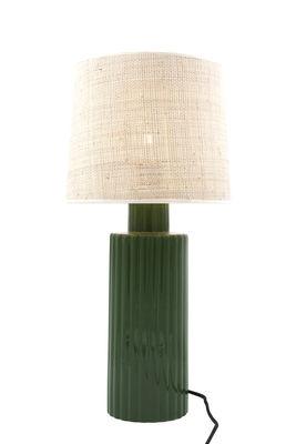 Portofino Tischleuchte / Bast & Keramik - H 54 cm - Maison Sarah Lavoine - Weiß,Grün