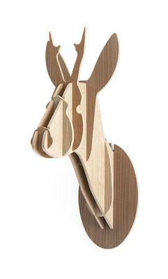 Déco - Tendance humour & décalage - Trophée Chevreuil - H 29 cm / Version tricolore - Moustache - H 29 cm - 3 nuances de bois - Chêne, Noyer, Teck