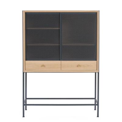 Mobilier - Meubles de rangement - Vaisselier Gabin / L 100 x H 140 cm - Hartô - Chêne / Gris ardoise - MDF plaqué chêne, Métal