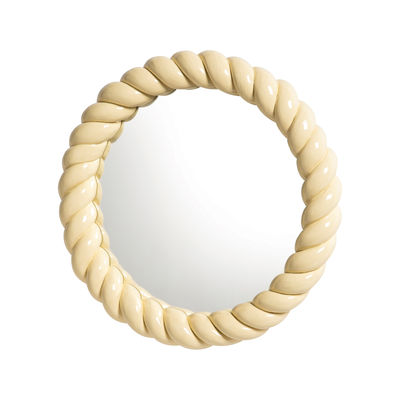 Decoration - Mirrors - Braid Wall mirror - / Round - Polyresin / Ø 25 cm by & klevering - Yellow - Glass, Polyresin