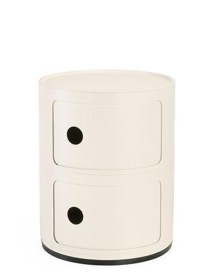 Möbel - Möbel für Kinder - Componibili Ablage / Version mattlackiert - 2 Schubladen - H 40 cm - Kartell - Mattweiß - ABS