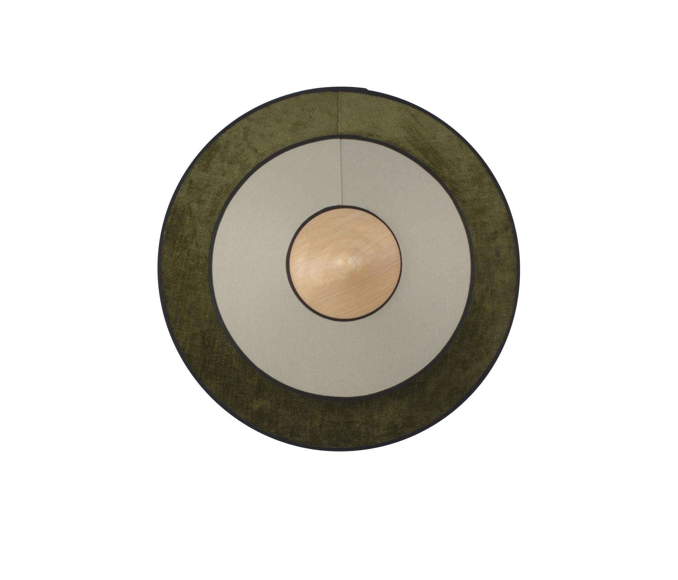 Illuminazione - Lampade da parete - Applique Cymbal LED - / Small - Ø 34 cm - Tessuto di Forestier - Verde - Cotone intrecciato, Rovere, Velluto