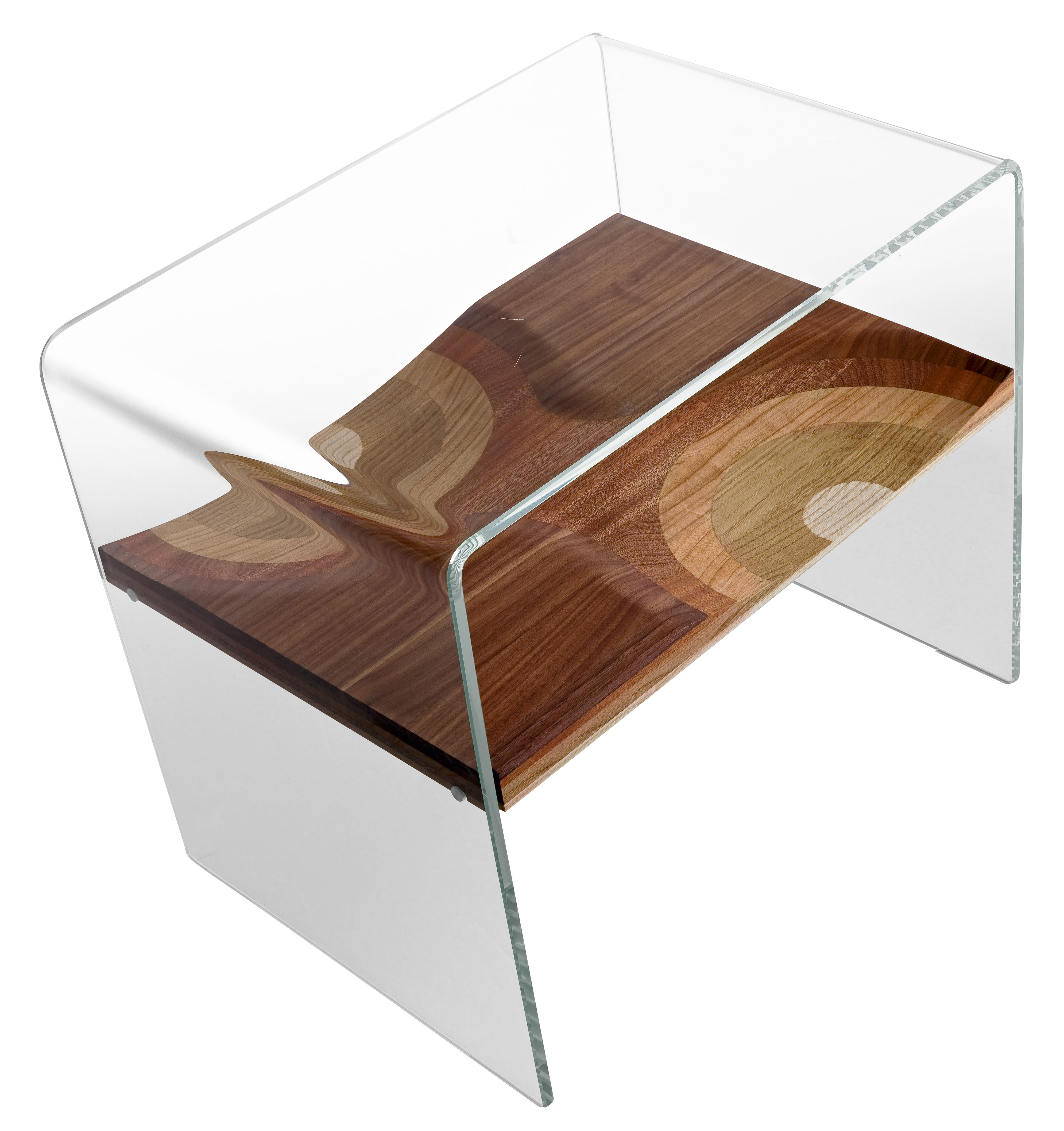 Furniture - Bedside & End tables - Bifronte Bedside table by Horm - Clear - Laminated wood, Soak glass