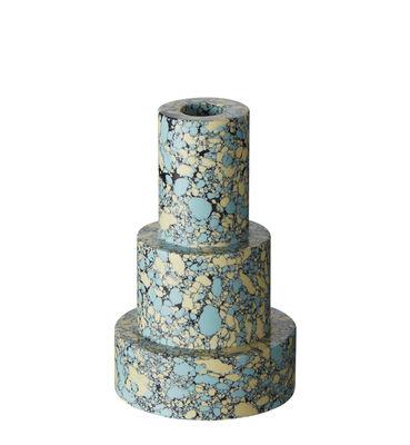 Déco - Bougeoirs, photophores - Bougeoir Swirl Stepped / Set de 2 empilables - Tom Dixon - Bleu - Pigments, Poudre de marbre recyclée, Résine