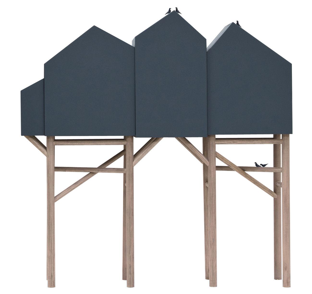 Mobilier - Mobilier Kids - Buffet Palafitt / 4 portes - L 161 cm - Seletti - Gris anthracite / Bois naturel - Bois de hêtre, MDF