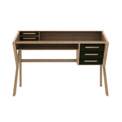 Bureau Origami / Chêne massif - 135 cm / 5 tiroirs - Ethnicraft noir/bois naturel en bois