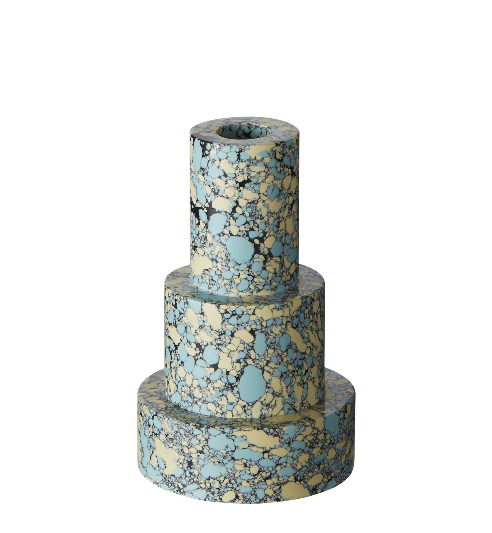 Decoration - Candles & Candle Holders - Swirl Stepped Candle stick - / Set of 2, stackable by Tom Dixon - Blue - Pigments, Recycled marble powder, Resin