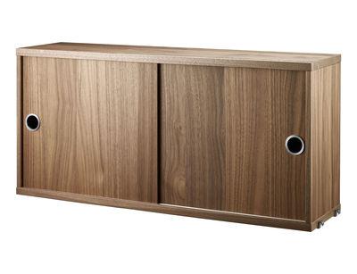 Cassettiera String System - / 2 ante - L 78 x P 20 cm di String Furniture - Noce - Legno