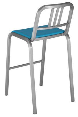 Mobilier - Tabourets de bar - Chaise de bar Nine-O / Assise rembourrée  - H 75 cm - Emeco - Aluminium mat / Bleu - Aluminium, Polyuréthane