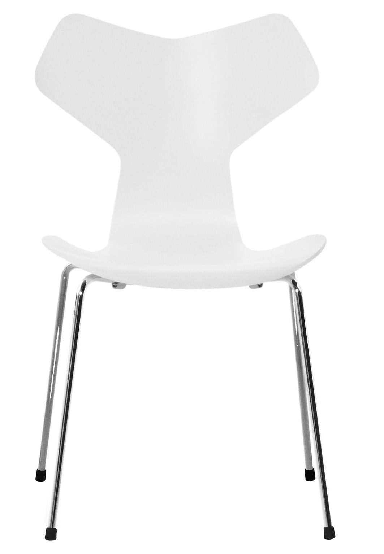 Mobilier - Chaises, fauteuils de salle à manger - Chaise empilable Grand Prix / Bois - Fritz Hansen - Blanc - Acier, Frêne