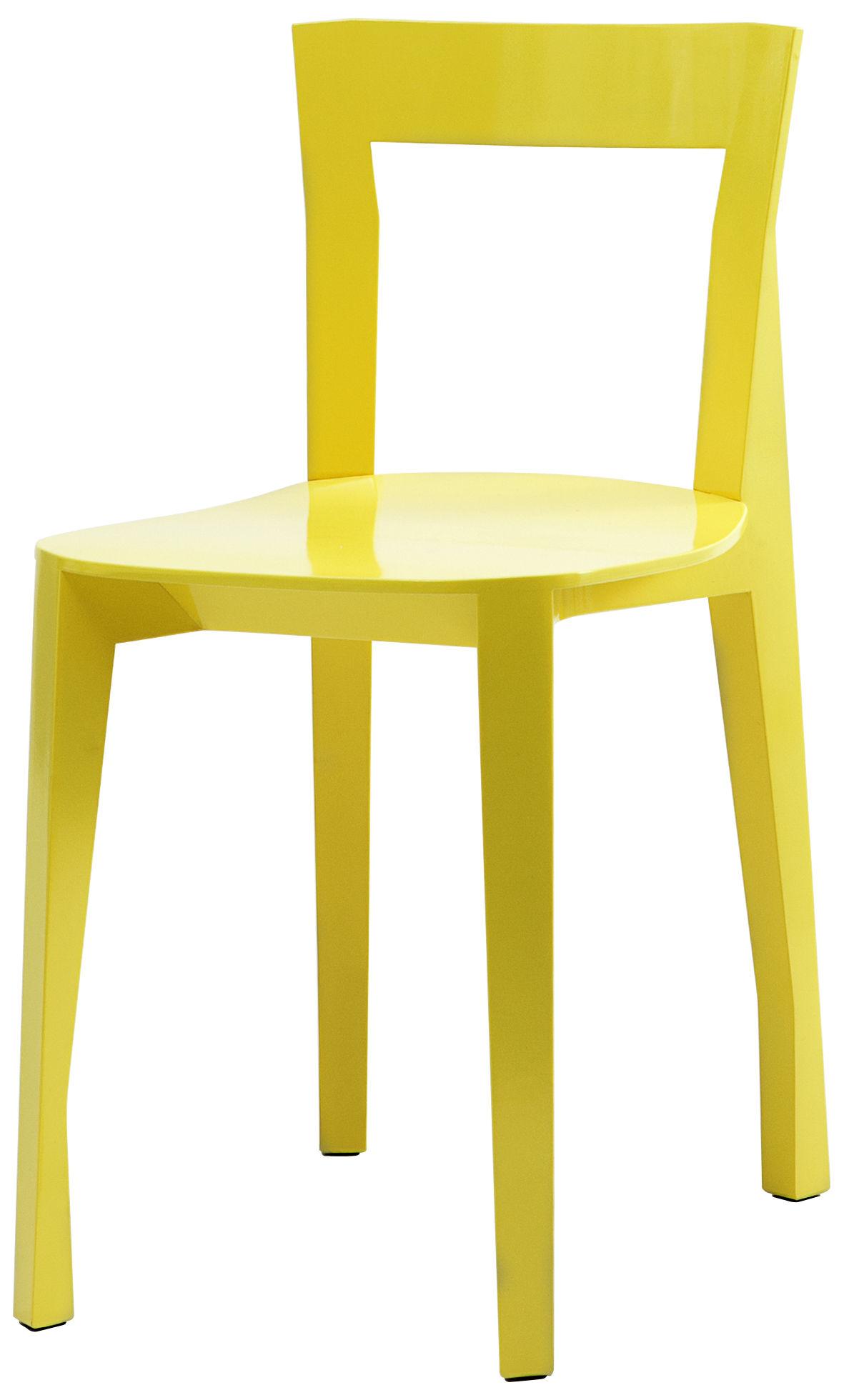 Mobilier - Chaises, fauteuils de salle à manger - Chaise Quadrille / Bois - Moustache - Jaune - Contreplaqué de frêne, Frêne massif