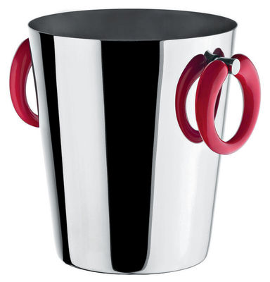 Tableware - Wine Accessories - Little Pop - Moon Bar Champagne bucket - Wine cooler - H 23 cm by A di Alessi - Steel & red - Stainless steel, Thermoplastic resin