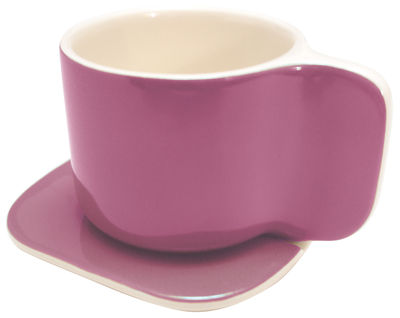 Tableware - Coffee Mugs & Tea Cups - Ti Coffee cup - Cup and saucer set by Sentou Edition - Purple - Earthenware