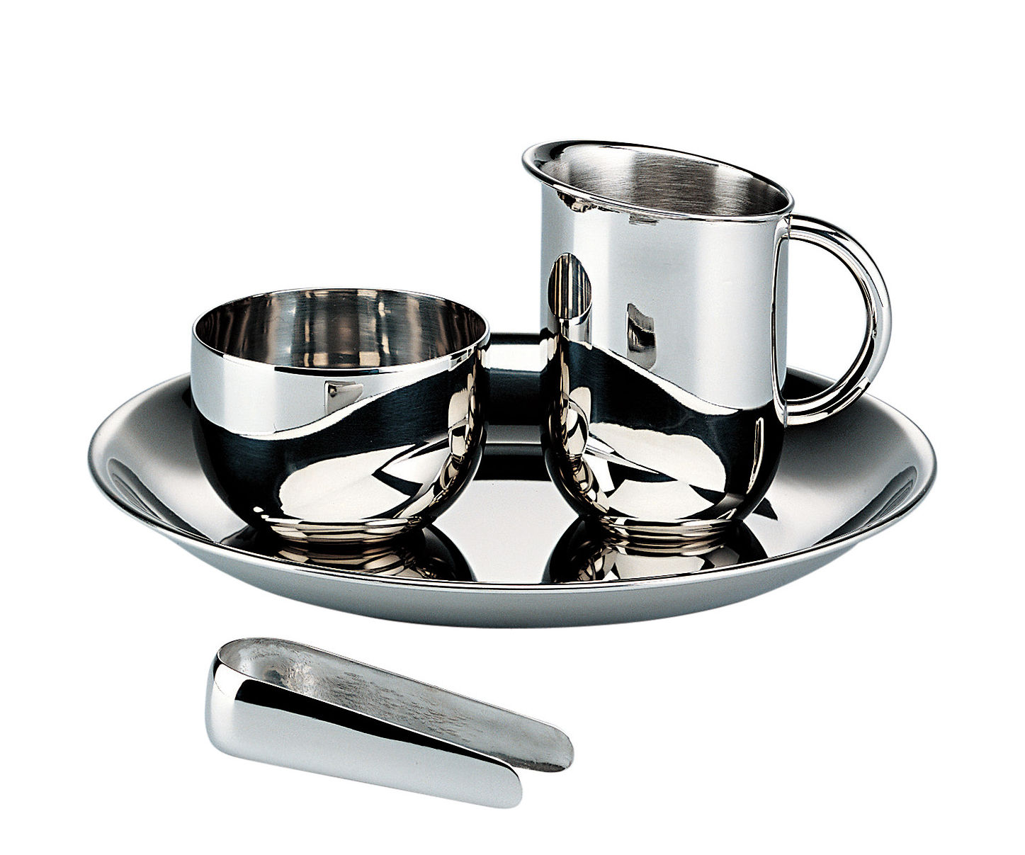 Tableware - Tea & Coffee Accessories - 100 ans Bauhaus Coffee set - / (1928) - Creamer + sugar bowl with tongs + tray by Alessi - Steel - Glossy stainless steel