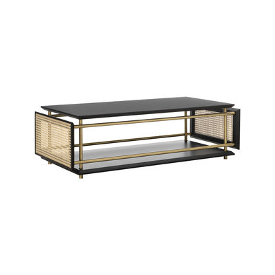 Furniture - Coffee Tables - Wiener Box Coffee table - / 107 x 50 cm x H 33 cm - Caning by Wiener GTV Design - Black, natural & brass - Brass finish metal, Lacquered wood, Straw