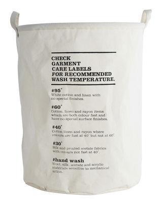 Corbeille à linge Wash Instructions / Ø 40 x H 50 cm - House Doctor blanc,noir en tissu